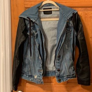 Blank nyc denim jacket with leather sleeves